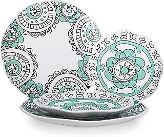 Dinner Plates DinnerwareSet - Porcelain Mint Blue Appetizer Dessert Plates, Hand Painted Floral Pattern LuncheonPlates, Housewarming Gift, 4 Pieces