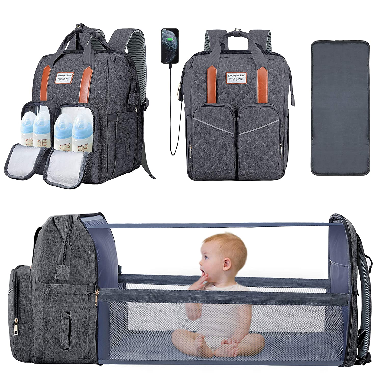 3 in 1 Baby Diaper Bag with Changing Station Backpack Foldable Diaper Bag with Bassinet Portable Baby Bag Travel Changing Bed Large Capacity Stroller Straps, Insulated Pockets, Gift for Mom