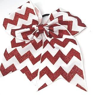Girls 6.5 Inch Glitter Chevron Grosgrain Cheer Bow Ponytail Holder (Red)