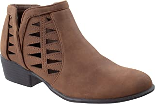 TOP Moda Women's Gary-55 Round Closed Toe Faux Low Heel Western Ankle Bootie with Decorative Cuts Outs Tan