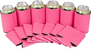 QualityPerfection 12 Neon Pink Party Drink Blank Can Coolers Blank Beer,Soda Coolies Sleeves   Soft Drink Collapsible Insulator   30 Colors   Perfect For DIY Projects,Holidays,Events