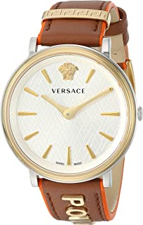 Versace Women's The The Manifesto Edition Stainless Steel Quartz Watch with Leather Calfskin Strap, Brown, 18 (Model: VBP070017