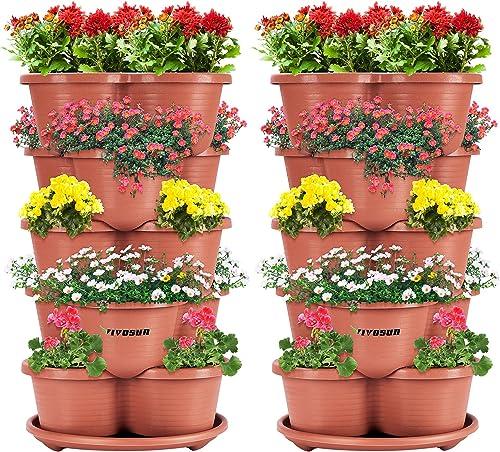 high quality VIVOSUN sale 2-Pack 5 Tier Vertical Gardening Stackable online sale Planter for Strawberries, Flowers, Herbs, Vegetables Brown sale