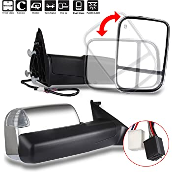 ROADFAR Towing Mirrors Compatible with 2009-2010 Dodge Ram 1500 2011-2019 Ram 1500 2500 3500 Power Adjusted Heated Turn Signal Puddle Light Black Housing