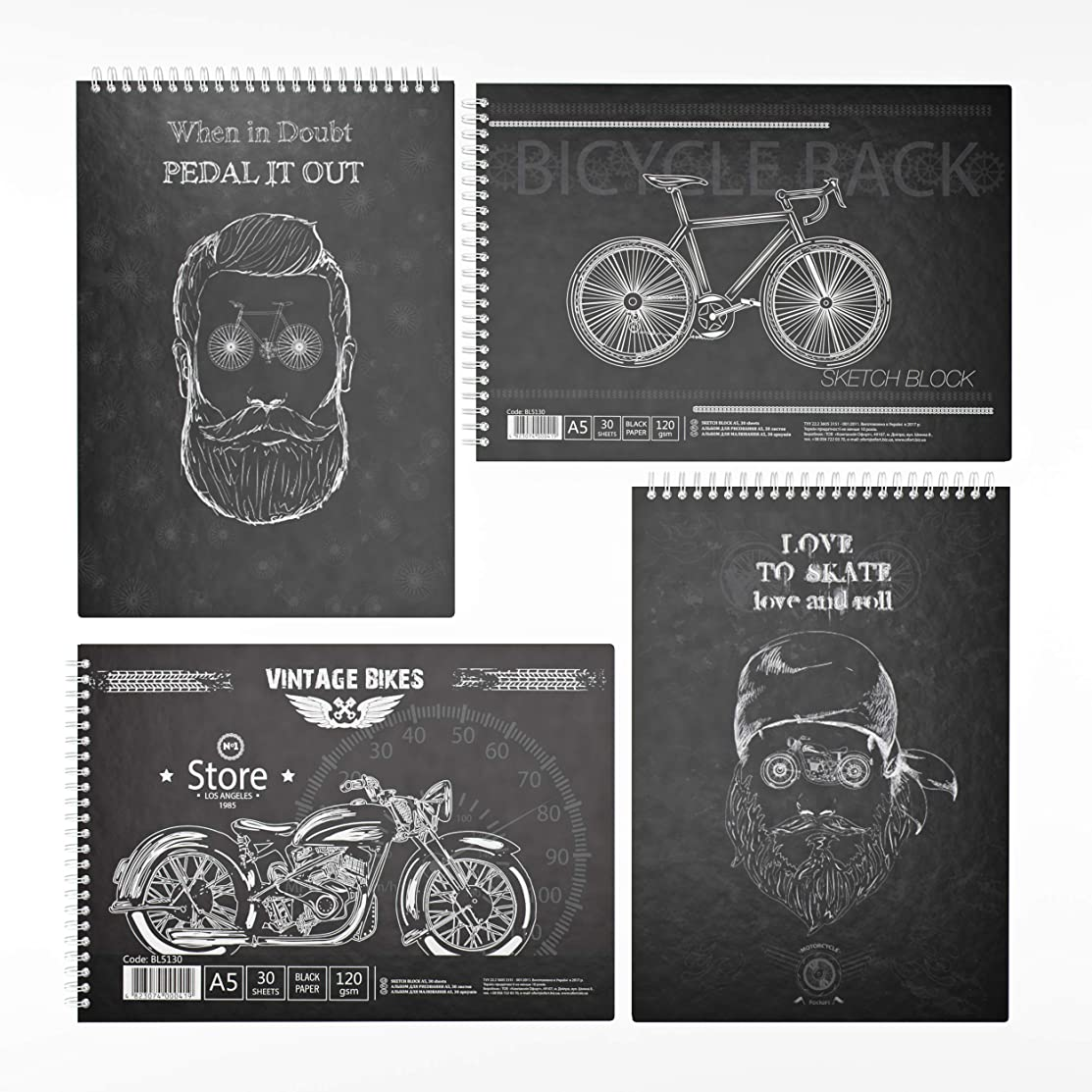 Ride in Adventure Pads ( Black and White Serie | Black Paper Sketchbook | White Grid Ruled Paper Notebook | Spiral Bound | 8 x 5.7 Inch Sheet Size | 4 Pads Set ) KF5280K and BL5130