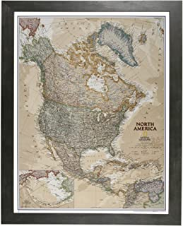 Push Pin Travel Maps Executive North America with Rustic Black Frame and Pins