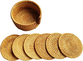 Actopus 6pcs 4 inches Dia. Rattan Coasters Dish Placemats with Holder for Pot Coffee Wine Bottle