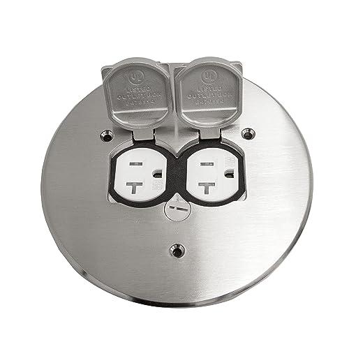 """ENERLITES 975517-S 5.75"""" Nickel Plated Brass Dual Flip Lid Electrical Floor Box Cover"""