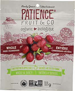 PATIENCE FRUIT AND Organic Whole & Juicy Dried Cranberries, Sweetened With Apple Juice, 133 gm