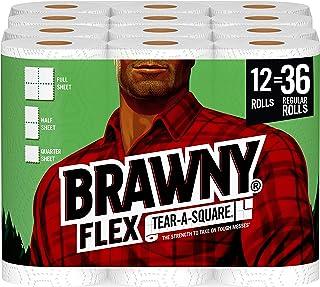 Brawny Flex Paper Towels, Tear-A-Square, 12=36 Rolls