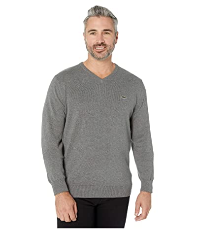 Lacoste Long Sleeve Half Moon V-Neck Jersey Sweater (Galaxite Chine/Flour/Stone Chine) Men