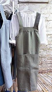 Hecho a mano delantal de lino Delantal Japonés De Smock del Artista Gris Tamaños S - XXL - No Ties Linen Apron Japanese Ap...
