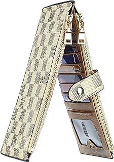 Rita Messi Womens Checkered Walllet RFID Blocking Bifold Multi Card Case Wallet with Zipper Pocket