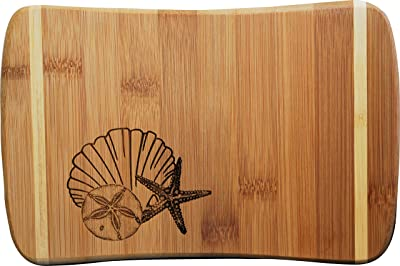Doodle Gifts Pin Stripe Bamboo Bar Cutting Board, Shell Collection, 6 x 9 (Small)