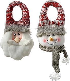 WeRChristmas Figura de Santa Claus y muñeco de Nieve, Colgar en la Puerta, decoración navideña, 23cm, Color Gris y Rojo, Juego de 2.