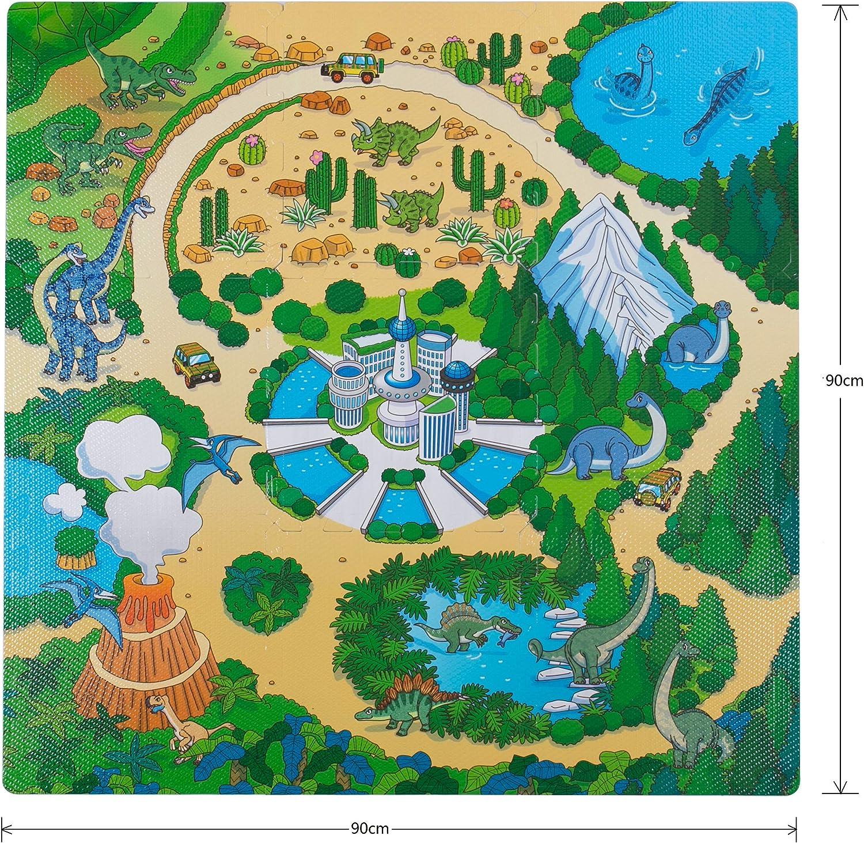 BodenMax Puzzlematte mit Stadt und Straßen für Babys und Kinder – Spielmatte, Krabbelmatte und Kinderspielteppich 30x30x1 cm (18 Stück) Kindermatte mit Dinomuster 9 Stück