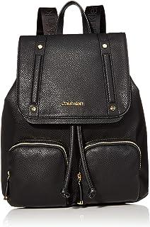 Calvin Klein Hudson Bubble Lamb Flap Backpack, Black/Gold