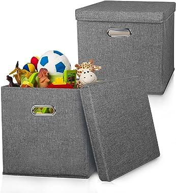 IMQSQIK Foldable Storage Cubes [2-pack] Large Storage Bins with Lids 13 x 13 Collapsible Storage Basket Box for Shelf Closet