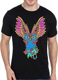 SFYNX 'Plur Owl' Mens Rave T Shirt - Glow in The Dark EDM Clothing - Blacklight Reactive Tee
