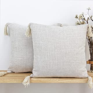 JOJUSIS Farmhouse Boho Throw Pillow Covers with Tassels Pack of 2 16 x 16 Inch Cream