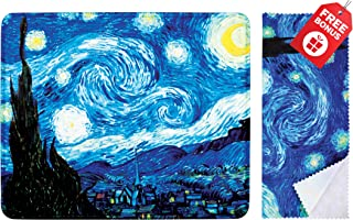Van Gogh The Starry Night Mouse Pad with Colorful Classic Artwork Design. Non Slip Base. Matching Microfiber Cleaning Clot...
