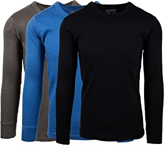 AMERICAN ACTIVE Men's 3 Pack 100% Cotton Fleece Lined Base Layer Long Sleeve Thermal Crew Neck Shirt