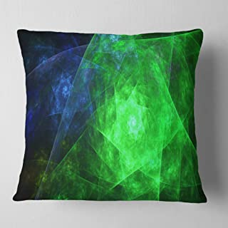 Designart Green Rotating Polyhedron' Abstract Throw Cushion Pillow Cover for Living Room, sofa 18 in. x 18 in