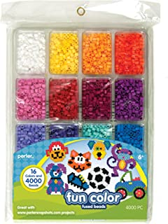 Perler Beads Fun Colors Fuse Beads and Storage Tray For Kids Crafts, 4000 pcs