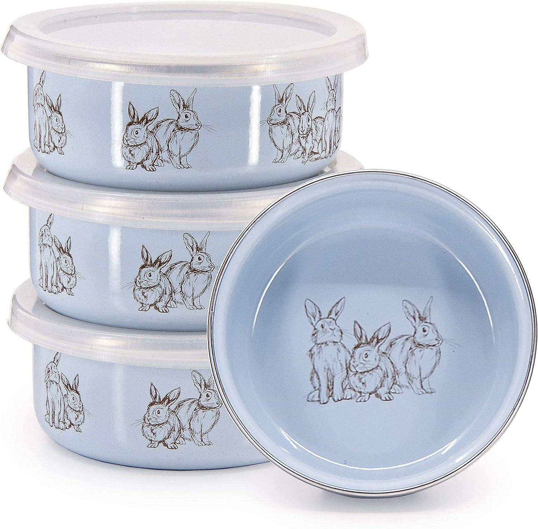 Golden Rabbit - mart Enamelware Set Long-awaited of 4 Bowls Blue Bunnies Child