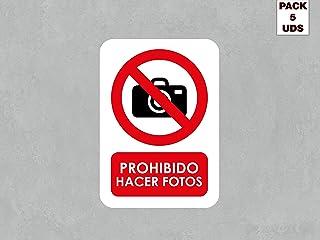 Pack 5 Señales de Prohibido Hacer Fotos | Medida 14,85x21cm | Señaletica en Vinilo Adhesivo Monomérico | Duradera y Económica