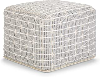 Simpli Home Noreen Square Pouf, Footstool, Upholstered in Light Blue and White Cotton Handloom Woven Pattern, for the Living Room, Bedroom and Kids Room, Transitional, Modern