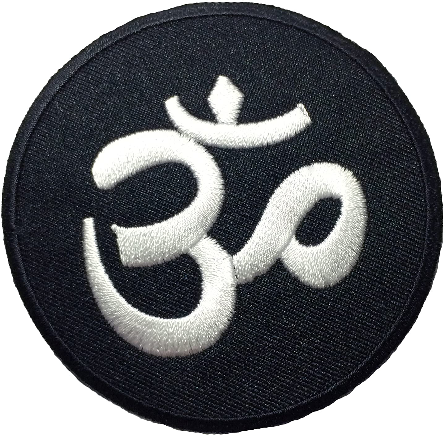 Papapatch Aum Om Ohm Hindu Hindi Hinduism Yoga DIY Costume Design Symbol Embroidered Sew on Iron on Patch (IRON-OM-BLACK)