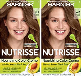 Garnier Nutrisse Nourishing Permanent Hair Color Cream, 613 Light Nude Brown (2 Count) Brown Hair Dye