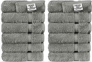 Luxury Hotel & Spa Towel Turkish Cotton (Wash Cloth - Set of 12, Cotton, Gray, Wash Cloth - Set of 12