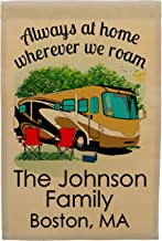 Happy Camper World Always at Home Wherever We Roam Personalized Class A Motorhome Campsite Flag, Customize Your Way, Stand Not Included (Gold/Brown)