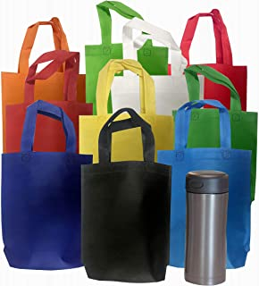 """Bulk 50 Pack Small Cloth Tote 8"""" x 10"""" Gift Bag Assortment - Ideal for Party Favors, Charity Events, and Prize Packs"""