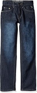 U.S. POLO ASSN. Toddler Boys' Straight Leg Jean, Flex Denim Dark Crinkle, 2T