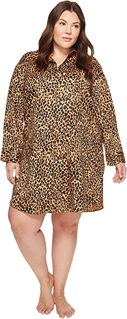 Plus Size Sateen Leopard Sleepshirt