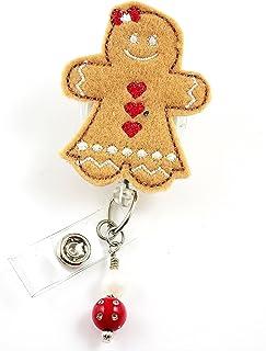 クリスマスGingerbread Girl with bow- Nurse Badgereel?–?Retractable IDバッジホルダー?–?ナースバッジ?–?バッジクリップ?–?バッジReels?–?Pediatric?–?RN?–?名前バッジホルダー
