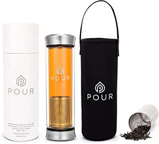 Double Wall Insulated Borosilicate Glass Tea Infuser Bottle With BPA Free Leakproof Stainless Steel Lids & Sleeve   Fine Steeping   For Loose Tea, Fruit Water, Coffee Brewing & More