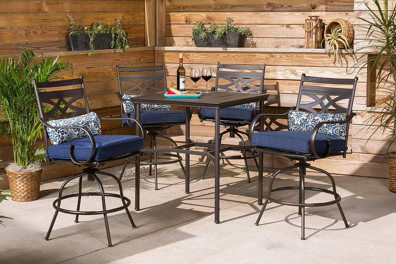 Hanover MCLRDN5PCBR-NVY Montclair 5-Piece High-Dining Patio Set in Navy Blue Outdoor Furniture : Patio, Lawn & Garden