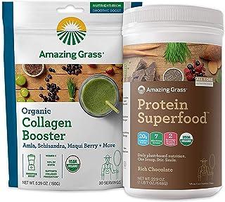 Amazing Grass Protein Superfood & Collagen Booster Bundle - Protein Superfood Powder Rich Chocolate & Vegan Collagen Green...