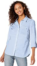 Tommy Hilfiger Women's Long Sleeve Roll Tab Button Down Shirt (Standard and Plus Size)