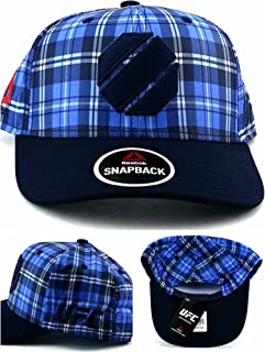 38da3794b79 Reebok UFC MMA New Fighter s Blue Navy Octagon Fight Plaid Era Snapback Hat  Cap