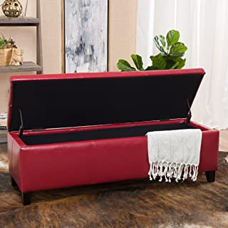 Christopher Knight Home 296847 Living Skyler Red Leather Storage Ottoman, 17. 50D x 51. 25W x 16. 25H