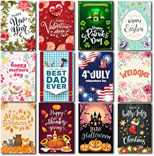 "Lovely Flag Seasonal Garden Flag Set of 12 | Premium Material Holiday Flags 12"" x 18"" 