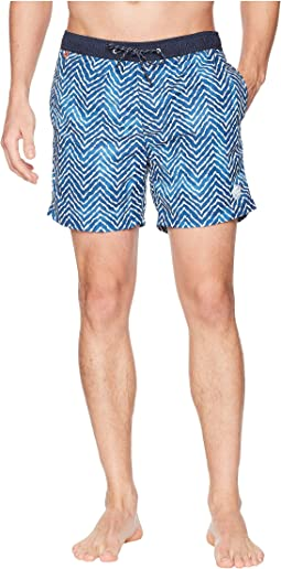 Classic Swim Shorts with Fresh Two-Tone All Over Pattern