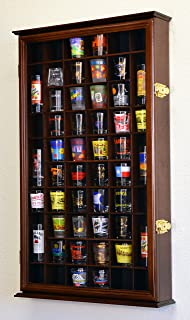 54 Shot Glass Shooter Display Case Holder Cabinet Wall Rack w/ UV Protection -Walnut