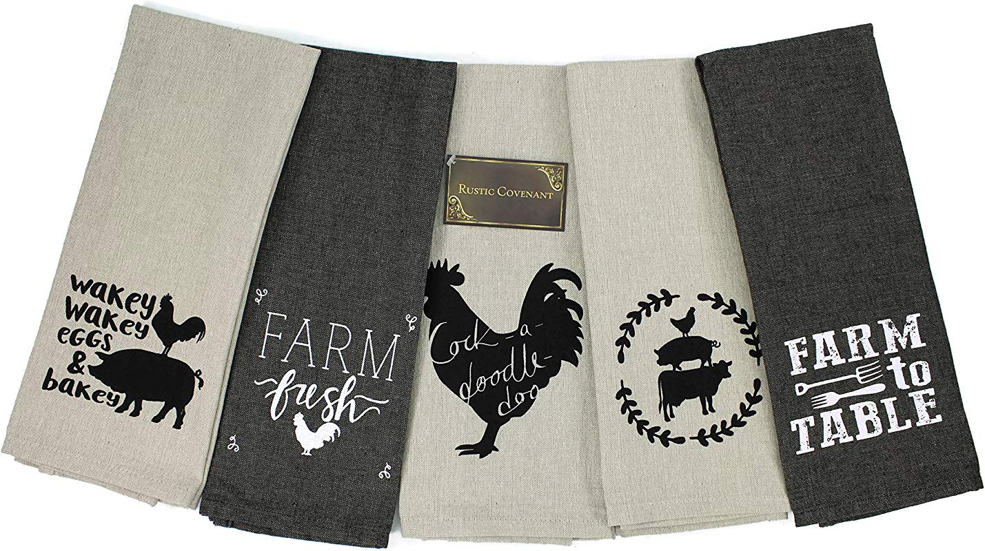 Rustic Covenant Woven Cotton Farm To Table Tea Towels 28 Inches By 16 Inches Set Of 5