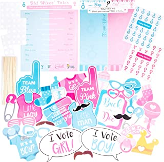 Gender Reveal Games Party Game Posters with Boy or Girl Voting Stickers | Large Gender Reveal Photo Booth Props | Baby Reveal Party Supplies | Gender Reveal Ideas